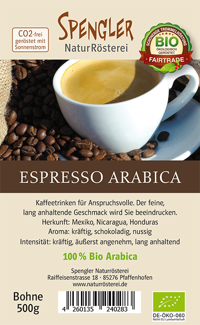 Espresso 100 % Arabica BIO Fair Trade 500g